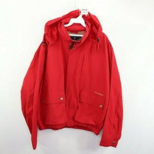Vintage Polo Sport Spell Out Hooded Jacket Red L